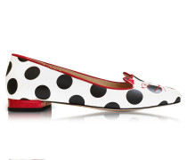 White Polka Dot Print Leather Kitty Flats