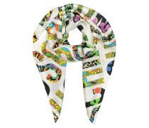 Moschino Halstuch aus Twillseide in weiß & multicolor mit Print