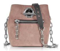 Mauve Suede and Black Pebble Leather Riot Crossbody Bag