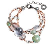Redentore 1  Armband in pink und grün aus Muranoglas & silbernen Blättern