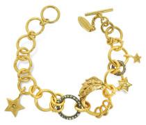Lion Armband aus vergoldetem Metall mit Kristallen