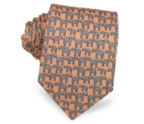 Elephants Print Silk Narrow Tie