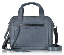 Medium Loveless Denim Reisetasche aus Leder in blau