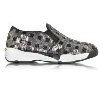 Sneaker aus Stoff mit Pailletten in schwarz und silber