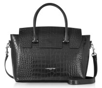 Black Croco Embossed Leather Satchel Bag