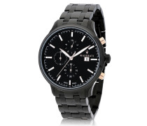 Attrazione Chrono-Uhr aus Edelstahl in schwarz