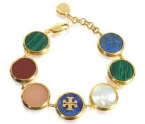 Armband aus vergoldetem Messing mit Halbedelsteinen