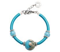 Papaya 2 Armband aus Edelstahl mit Muranoglasperlen in hellblau