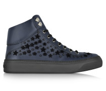 Argyle Official Navy Leather High Top Sneakers w/Black Flocked Stars