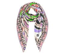 Peony and Green Inca Print Silk Square Scarf