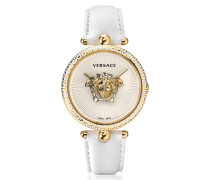 Palazzo Empire White and PVD Plated Gold Women's Watch w/3D Medusa