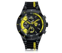 RedRev Evo Herren-Chronographenuhr aus Edelstahl in schwarz und gelb mit Silikonarmband