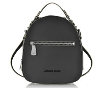 Small Black Eco Leather Backpack