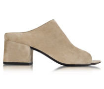 Slipper Open-Toe aus Wildleder in beige