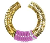 Fishbone Halskette aus vergoldetem Metall in rosa und weiß