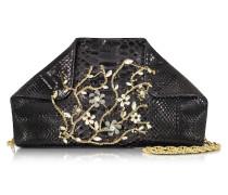 Schultertasche aus Pythonleder in schwarz mit Kristallen