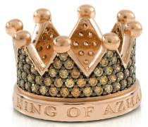 Re Ring aus Silber mit Krone und Zirkon