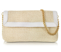Straw and Leather Clutch w/Shoulder Strap