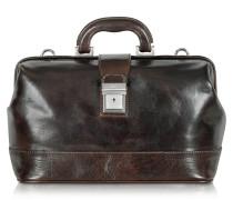 Mittelgroße Doktortasche aus Leder in dunkelbraun
