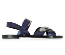 Flache Sandale aus Leder in dunkelblau mit Kristallen
