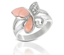 Ring aus 18k Gold mit Schmetterling aus Koralle in pink mit Diamant