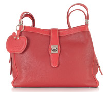 Red Embossed Leather Shoulder Bag