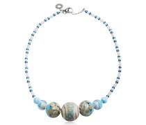 Papaya 2 Choker Halskette aus Muranoglas in hellblau