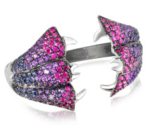 Carnivorous Flower w/Sapphires and Amethysts Gold Pave Ring