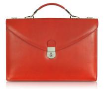 Rubinrote Leder-Aktentasche mit doppelter Seitenfalte