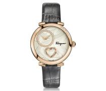 Cuore Ferragamo Damenuhr Rosegold IP mit Diamanten und Herz an krokogeprägtem Armband in grau