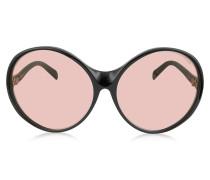 EP0030 015 Black Oversized Round Sunglasses