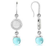 Boulevard Stone Rhodium Over Bronze Dangle Earrings w/Turquoise Hydrothermal Stone