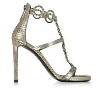 Sandale aus laminiertem Python in silber mit Kristallen besetzt