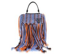 Lavender Canvas Long Fringed Satchel Bag