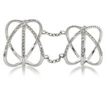Criss Cross Ring aus 18k Weißgold mit Diamanten