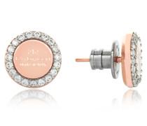 Boulevard Stone Rose Gold Over Bronze Stud Earrings w/Stones