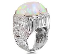 Drama Masks Ring in Gold mit Opal und Diamanten