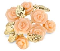 Vergoldete Brosche mit pinkfarbenen Rosen