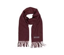Moschino Solid langer Schal aus Wolle in grau mit Logo