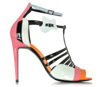 Patent Leather and Kid Pink High Heel Sandals