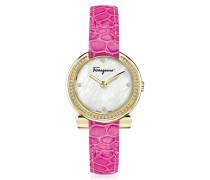 Gancino Gold IP Damenuhr aus Edelstahl und Perlmutt mit Diamanten und Krokoarmband in pink