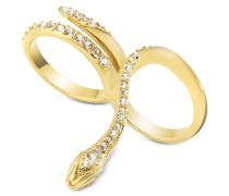 Just Medusa Zweifinger-Ring aus goldfarbenem Edelstahl mit Kristallen