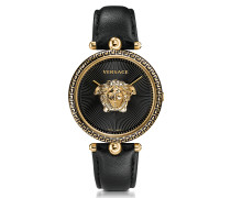 Palazzo Empire Black and PVD Plated Gold Women's Watch w/3D Medusa
