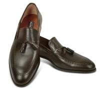 Loafer aus dunkelbraunem Leder mit Troddeln