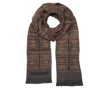 Herrenschal aus gewobener Wolle in dunkelbraun mit Zickzackmuster