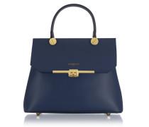 Atlanta Navy Blue Leather Top Handle Satchel Bag w/Shoulder Strap