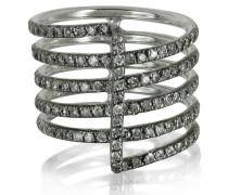 Four Bands Ring aus 9k Weißgold mit grauen Diamanten