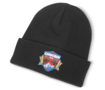 Canadian Patch Black Wool Knit Hat