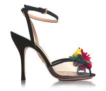 Tropicana Sandale aus Seide und PVC in schwarz