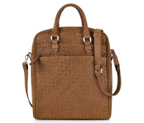 Brown Woven Suede Vertical Messenger Bag